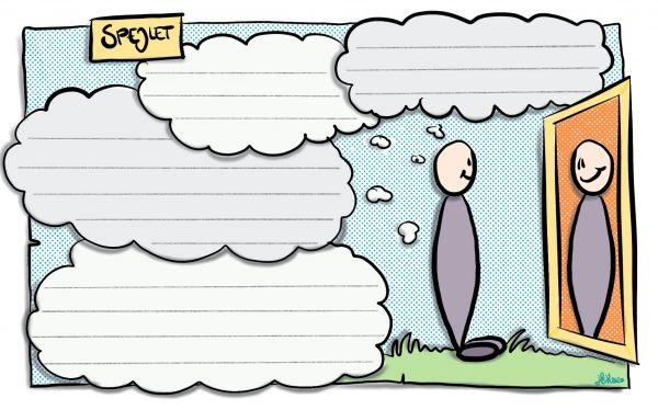 Spejlet: her kan jeg udfylde mine tanker om mig selv, eller de tanker jeg gerne vil have om mig selv.